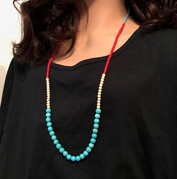 Cream Wooden Beads in Turquoise Southwest Necklace and Red