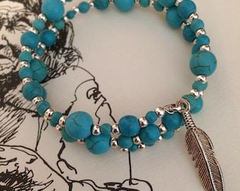 Turquoise wooden bead bracelet I
