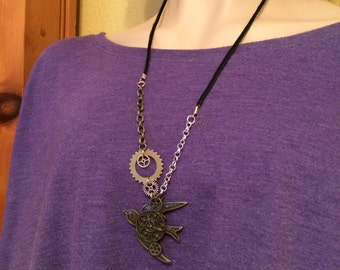 Steampunk swallow necklace