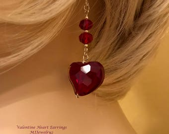 Valentine Heart Earrings: Red Crystal