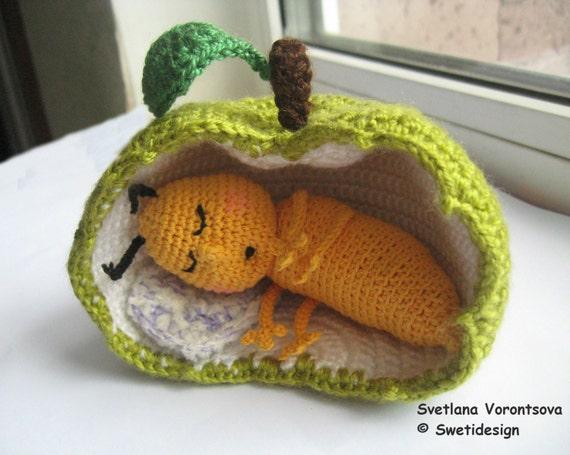 Schlafen Apfel Wurm Gehäkelt Bestelloptionen Etsy