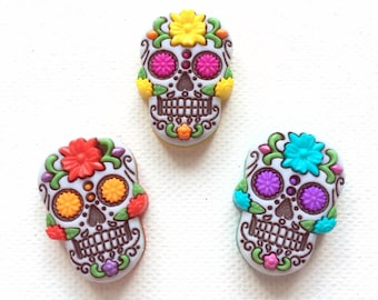 Sugar Skull Pin - Red - Blue - Yellow -Day of the Dead - Calavera - Tie Tack - ID Badge Pal - Halloween Jewelry