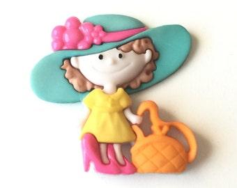 Little Girl Pin, Little Girl Tie Tack, Girl Playing Dress Up Pin, Little Girl Pin, Playing Dress Up, Girl in Hat Pin, Cute Girl, Lapel Pin