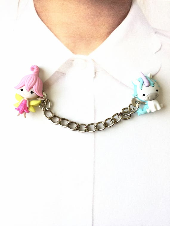 Brooch Unicorn Collar Clips Unicorn Sweater Guards Fairy Sweater Guards Fairy Collar Clips Unicorn Collar Tips Pin Fairy Chained Pins
