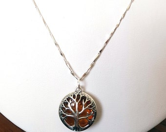 Tree of life, amber pendent, sterling silver pendent,sterling silver neacklace