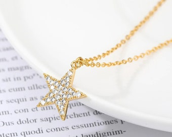 Micro pave Star Necklace-Cubic Zirconia Star-Five-pointed Star Charm-Jewelry Making Supplies 18.3x13x1.8mm