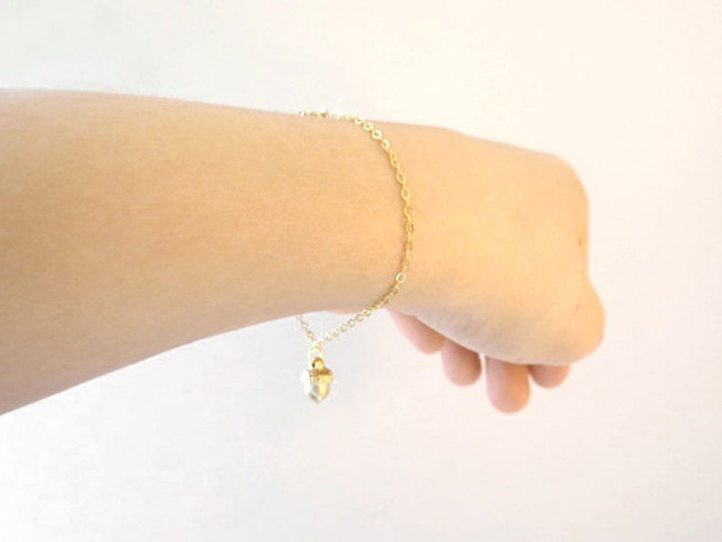 Gold bracelet Gift for sister Minimal dainty bracelet Gift for graduation Valentine/'s day gift Acorn bracelet