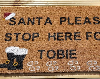 Gin-Gle Bells Christmas Doormat Hand-painted natural coir doormat