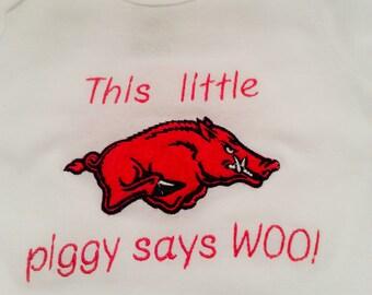 Girls or Boys Arkansas Razorback Shirt or Onesie. Woo Pig Sooie, Go Hogs Go, Kids Razorback Shirt This little piggy says woo