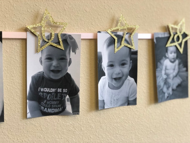Gold.. Pink... Twinkle Twinkle Little Star.. First Birthday.. Baby Girl.. Photo Banner..