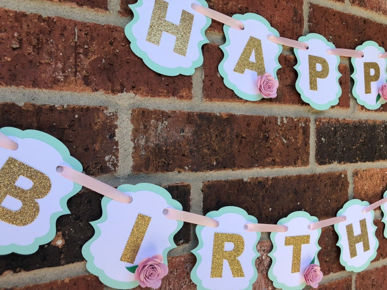First Birthday.. Flowers.. Baby Shower Mint and Pink.. Candy Station.. Happy Birthday.. Shabby Chic.. Floral Scalloped Banner..