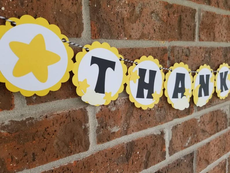 Blackand Yellow Baby Shower.. Neutral Twinkle Twinkle Little Star Banner.. Garland..