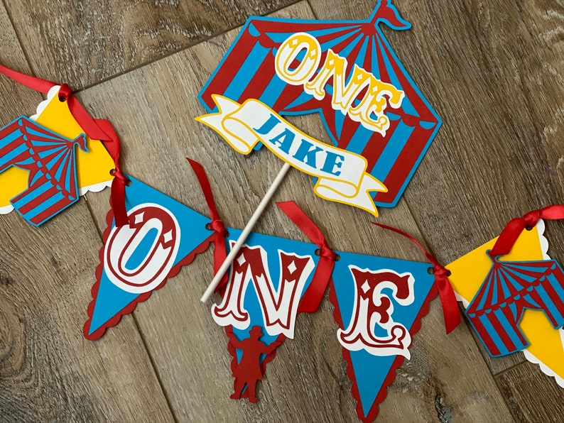 The Great.. Personalized Circus high chair banner.. Baby Boy.. Circus Cake Topper.. First Birthday.. Smash Cake Session..