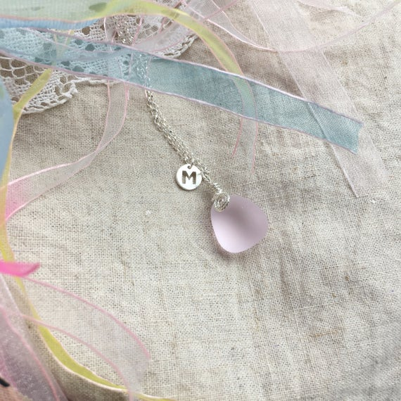 Personalized Initial Pendant Details about  /Handmade Sterling Silver Beach Sea Glass Necklace