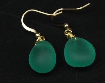 Handmade Teal Beach Sea Glass Earrings with Gold Plated Hook