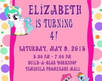 Personalized Customized MY LITTLE PONY Birthday Invitation
