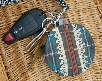 Plaid and Lace Circle Zip Keychain Pouch Coin Purse Accessory Pouch