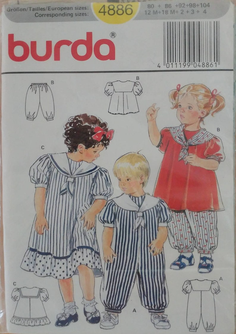 29554e2f93a Size 12M,18M,2,3,4 Sewing Pattern Childrens Kids Toddlers Boys Girls Sailor  Suit Romper Dress Pantaloons