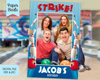 Bowling Photo Booth Frame, Bowling Party, Bowling Birthday Frame, Strike a Pose, Roll On Over Frame, Bowling Photo Prop Printable