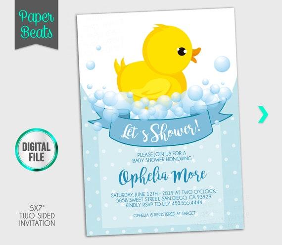 Duck Baby Shower Invitation Duckling Invitation Duckling Baby