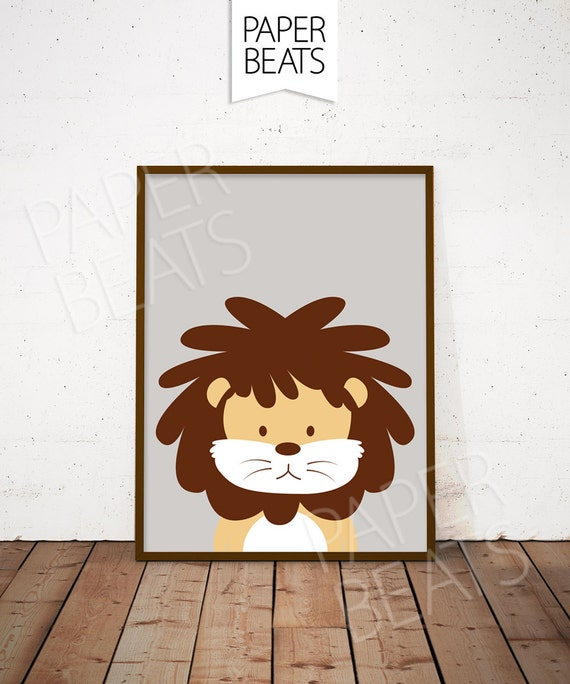 Lion Wall Art Lion Nursery Art Print Safari Animals Kids
