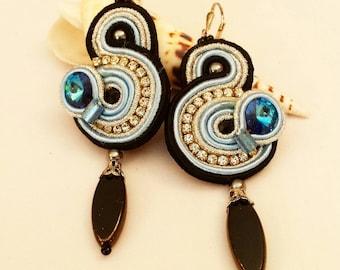 Soutache earrings. Soutache Jewelry. Statement earrings.