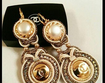 Soutache earrings made of authentic buttons (stamp on back). Luxury statement earrings. Evening Jewelry