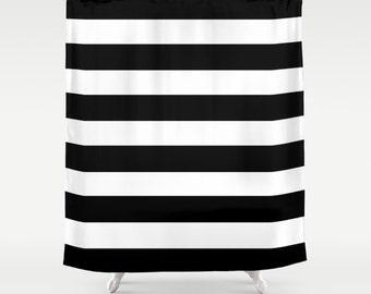 Black And White Stripe Shower Curtain Bathroom Striped Decor Girls Bold