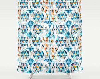 Geometric Shower Curtain Blue Orange Bathroom Decor Ikat Boys Fabric Geo Tribal Print Mens