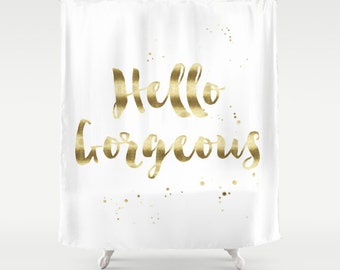 Hello Gorgeous Shower Curtain Girls Bathroom Quote Black Gold Decor Apartment