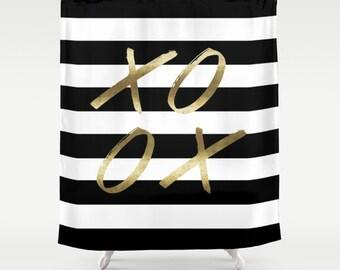 Black And White Stripe Shower XOXO Gold Curtain Bathroom Striped Decor Girls Bold