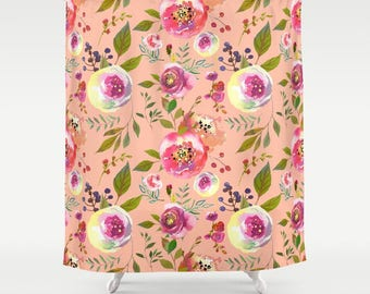 Peach Floral Shower Curtain Girls Bathroom Pink Peony Print Decor Apartment Womens