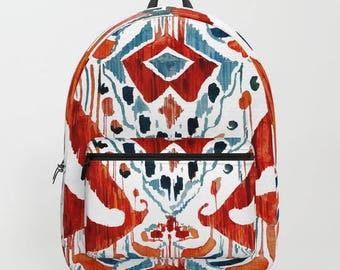 Ikat Backpack Red Ikat Tribal Print School Backpack Women Boho College Girl  Backpack Red Tribal Backpack for Girls Ikat Bag Back To School 0de6bb1059229