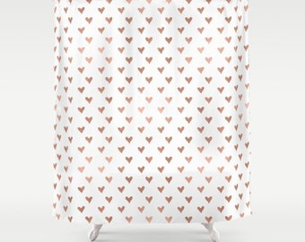 Rose Gold Hearts Shower Curtain Preppy Girls Bathroom Decor Heart Print Gifts For Her