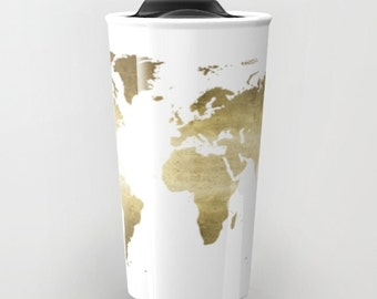 World map mug etsy more colors gold foil world map travel mug ceramic gumiabroncs Choice Image