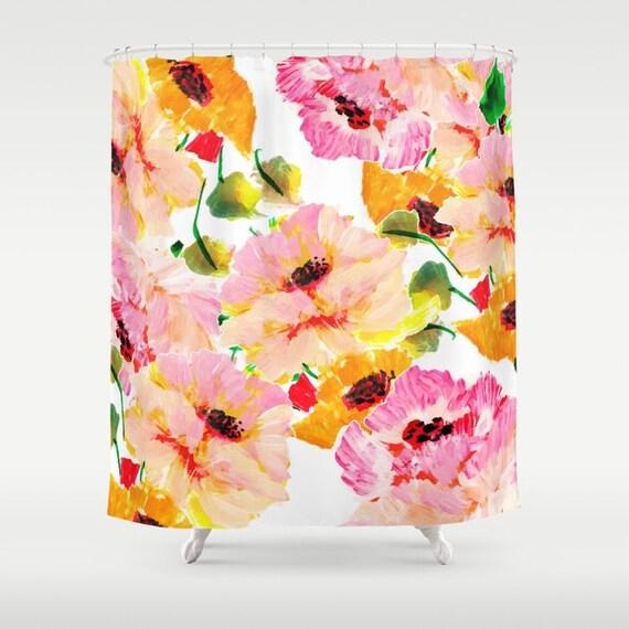 Pink And Orange Floral Shower Curtain Women Girls Bathroom