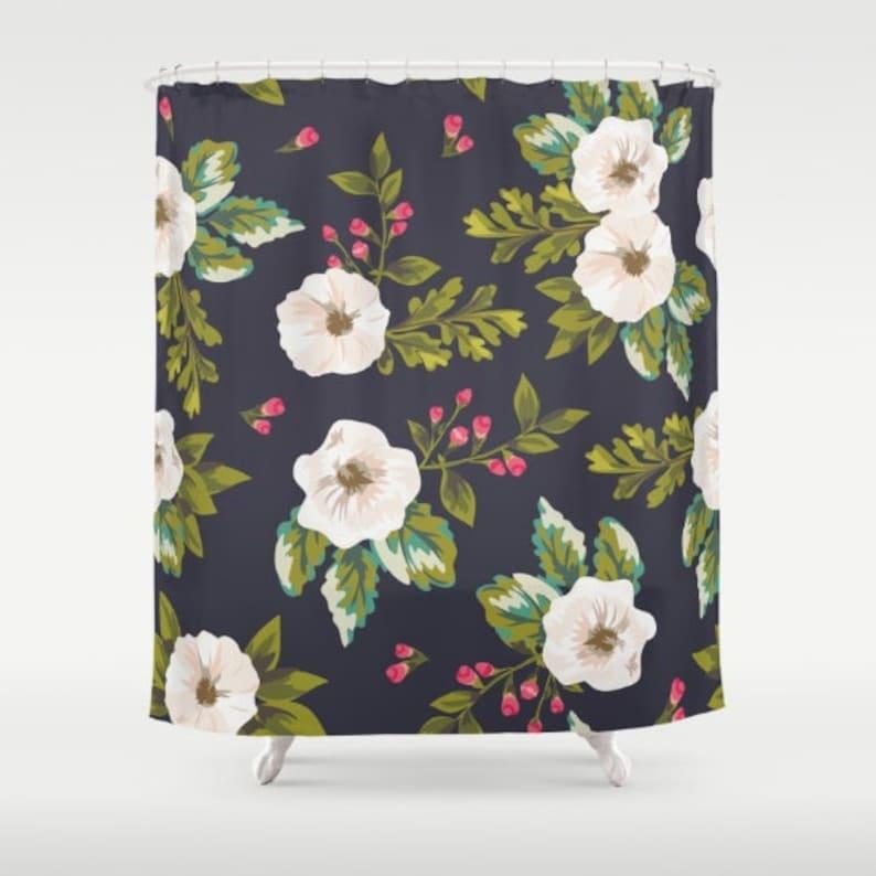 Floral Shower Curtain Navy Pink White Shower Curtain Flower