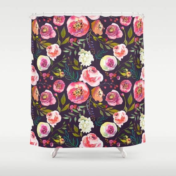 Floral Shower Curtain Girls Bathroom Decor Black Pink