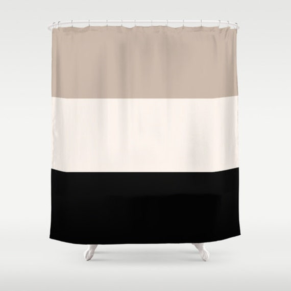 Shower Curtain Tan Black Bathroom Colorblock