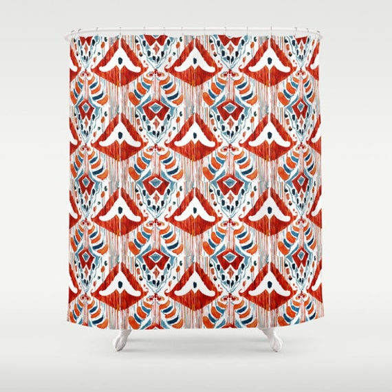 Red Ikat Shower Curtain Bathroom Decor And White
