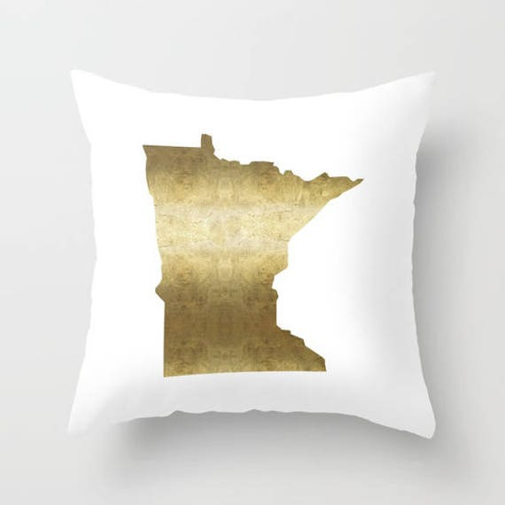 Minnesota Pillow Gold Foil Minnesota Map Pillow Midwest Home Etsy