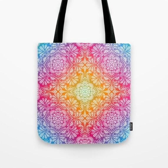 7c004bc32a Mandala Tote Bag Rainbow Aura Boho Canvas Tote Yoga Bag Yogi