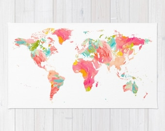World Map Rug floral rug 3x5 4x6 2x3 area rug bath mat world map bedroom dorm room rug floral map print pink home decor world travel gifts
