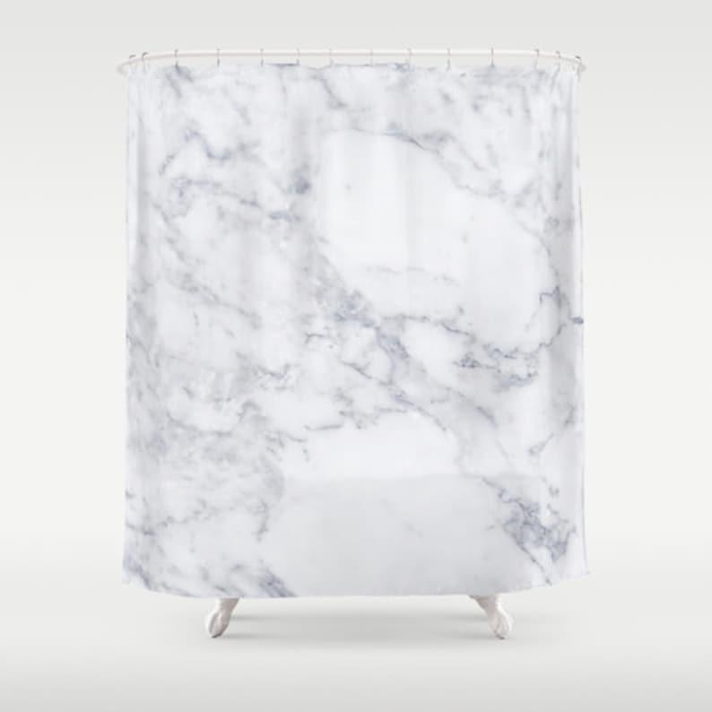 White Marble Shower Curtain Girls Bathroom