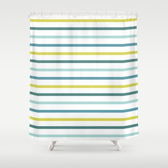 Nautical Striped Shower Curtain Blue Green Yellow