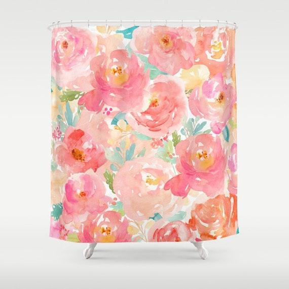Pink floral shower curtain girls bathroom pink peonies print etsy image 0 mightylinksfo