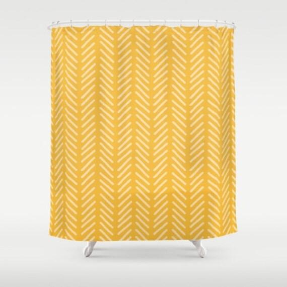 Yellow Shower Curtain Mustard Chevron Herringbone Bathroom Decor Boys Shower Curtain Boys Bathroom Woodland Print Vintage Shower Curtain
