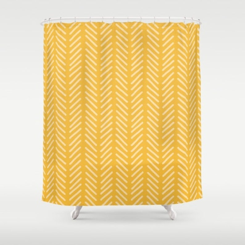 Yellow Shower Curtain Mustard Chevron Herringbone Bathroom