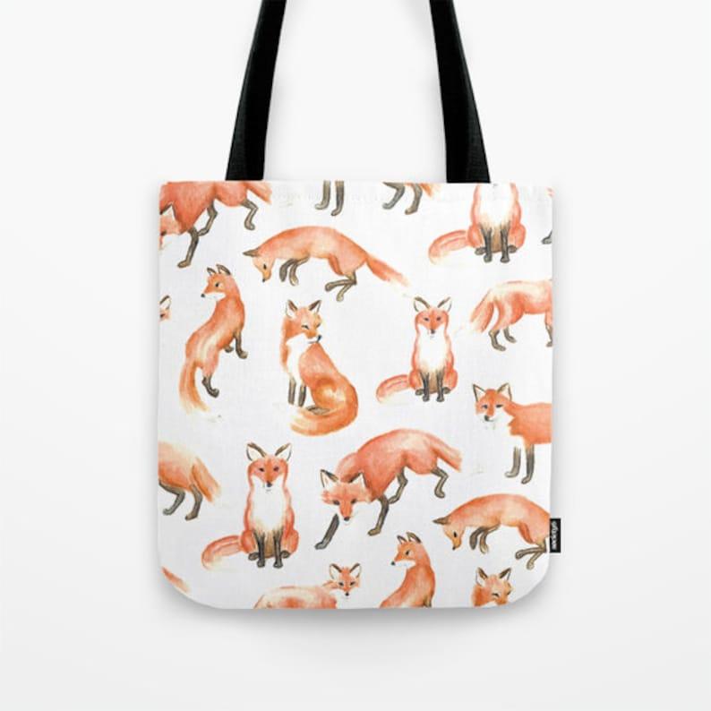 24bd4e3c0492 Fox Tote Bag Fox Canvas Tote Bag Cute Fox Print Shoulder Orange Fox Print  Shopper Hipster Fox Totes ...