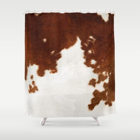 Cowhide Shower Curtain Cow Print Shower Curtain Country Shower Etsy